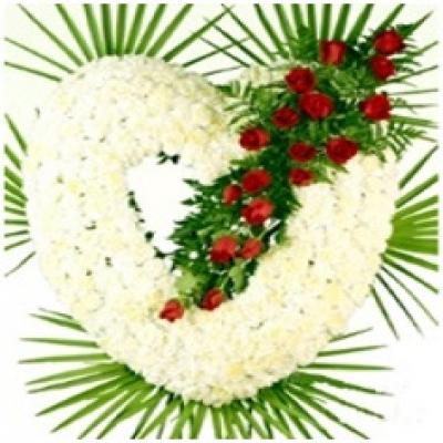 Corazón de claveles blancos